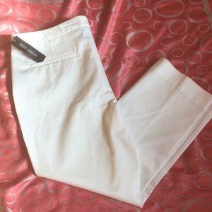White crop length pants